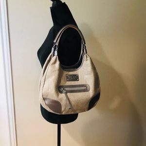 Kate spade metallic linen shoulder/hobo bag